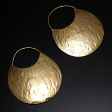 Fulani Earrings Golden Bronze Flat Hoops 5 cm 2 inches African Ethnic Jewelry Mali