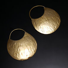 Fulani Earrings Golden Bronze Flat Hoops 3 cm 1,2 inches African Ethnic Jewelry Mali