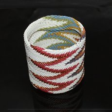 Ethnic Zulu Design Large Cuff Bracelet Telephone Wire Mahatsara 2,75 Inches White/Multicolored