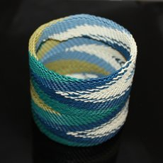 Ethnic Zulu Design Large Cuff Bracelet Telephone Wire Mahatsara 2,75 Inches White/Blue/Green