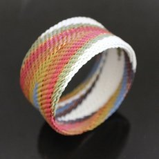 Ethnic Zulu Design Cuff Bracelet Telephone Wire Mahatsara 1,37 Inches Multicolored Rafters
