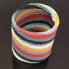 Ethnic Zulu Design Large Cuff Bracelet Telephone Wire Mahatsara 2,75 Inches Black/Red/Grey/Yellow/Blue Braiding