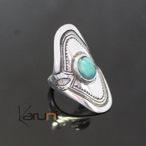 Nigerian Silver Turquoise Ring 53