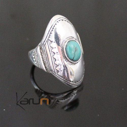 Marquise Ring Sterling Silver Jewelry Turquoise Engraved Tuareg Tribe Design 58