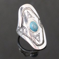 Marquise Ring Sterling Silver Jewelry Turquoise Engraved Tuareg Tribe Design 64