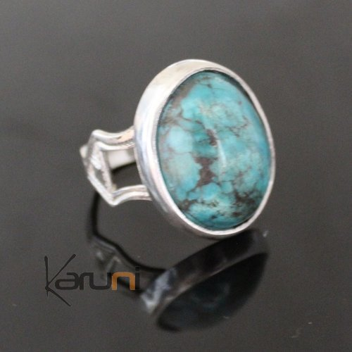 Nigerian Silver Ring Turquoise 67