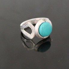 Marquise Ring Sterling Silver Jewelry Turquoise Engraved Tuareg Tribe Design 68