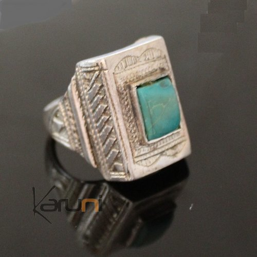 Nigerian Silver Turquoise Ring 69