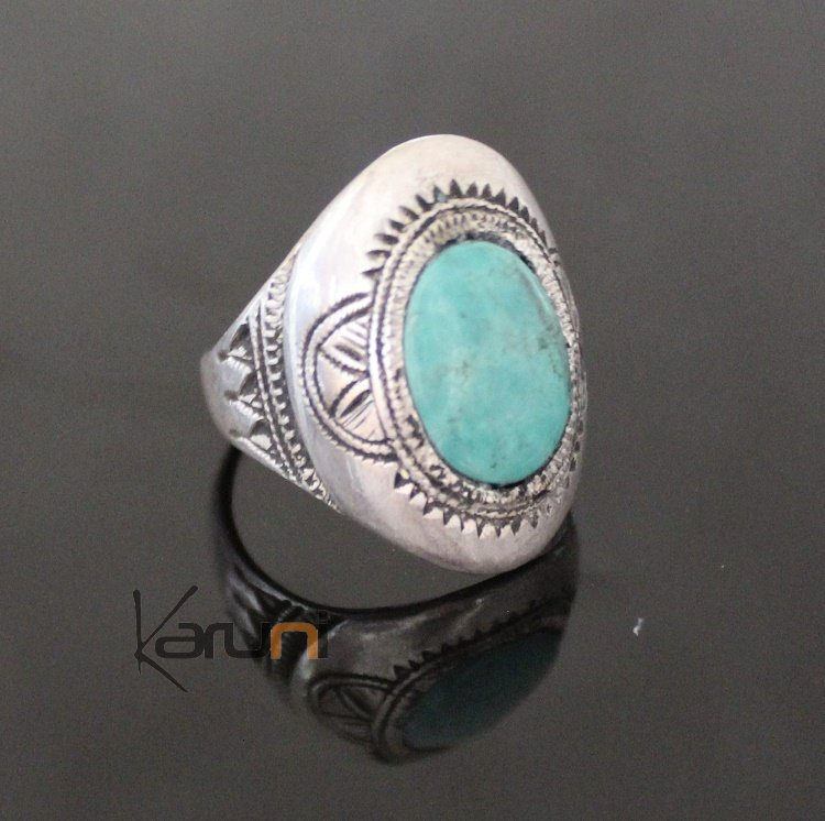 Marquise Ring Sterling Silver Jewelry Turquoise Engraved Tuareg Tribe Design 70