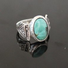 Marquise Ring Sterling Silver Jewelry Turquoise Engraved Tuareg Tribe Design 71