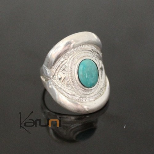 Nigerian Silver turquoise Ring 73