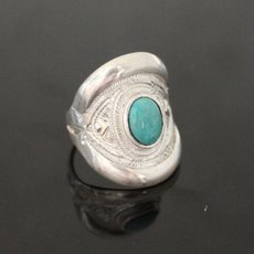 Marquise Ring Sterling Silver Jewelry Turquoise Engraved Tuareg Tribe Design 73