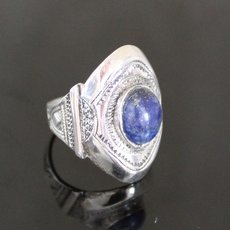 Marquise Ring Sterling Silver Jewelry Engraved Tuareg Tribe Design 46