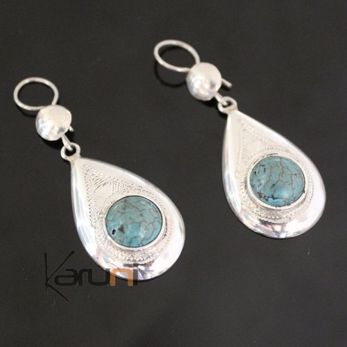 Ethnic Earrings Sterling Silver Jewelry Silver Drops Turquoise Tuareg Tribe Design 62