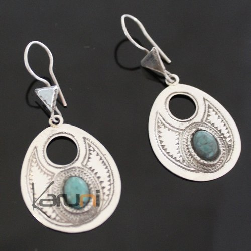 Ethnic Earrings Sterling Silver Jewelry Silver Drops Turquoise Tuareg Tribe Design 63