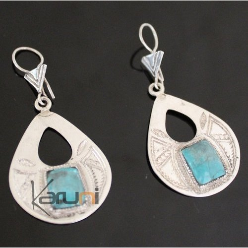 Ethnic Earrings Sterling Silver Jewelry Silver Drops Turquoise Tuareg Tribe Design 64
