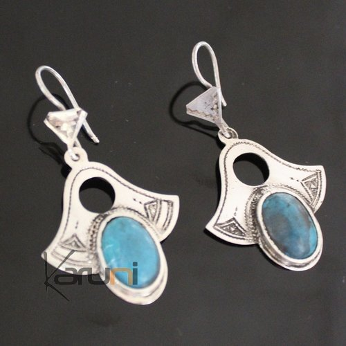 Ethnic Earrings Sterling Silver Jewelry Silver Drops Turquoise Tuareg Tribe Design 66