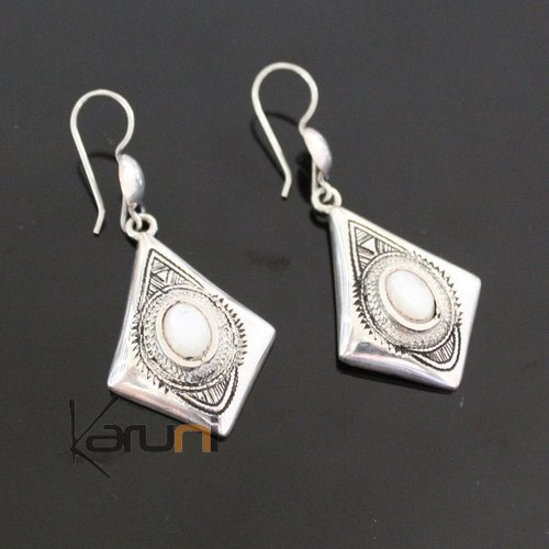 Ethnic Earrings Sterling Silver Jewelry Round Mothr of Pearl Lacy Pendants Tuareg Tribe Design 36