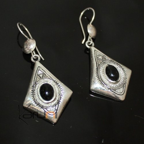 Ethnic Earrings Sterling Silver Jewelry Onyx Rectangle Small Lotus Tuareg Tribe Design 105