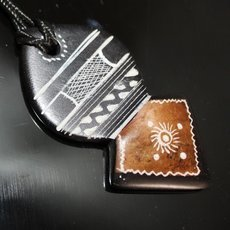 Ethnic Tuareg Jewelry Necklace Pendant Soap Stone Engraved 95