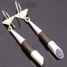 Ethnic Earrings Sterling Silver Jewelry Ebony Pestle Tuareg Tribe Design 26