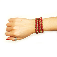 Bracelet multi ranks 3 turns Bordeaux pearls fabrics cambodia