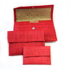 Raffia patterned pouch Lot of 3 - Red