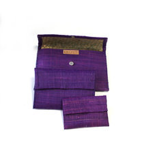 Raffia patterned pouch Lot of 3 - Purple