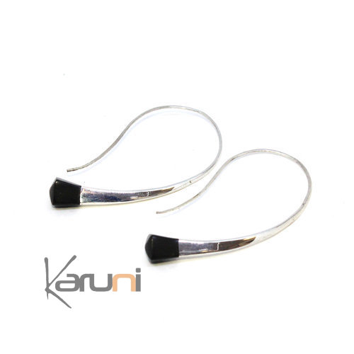Long Nigerian Silver wire Ebony square Hoops