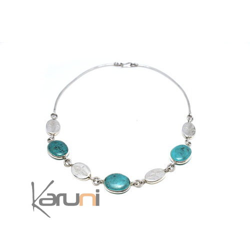Ethnic Necklace Sterling Silver Jewelry Karuni design Turquoise