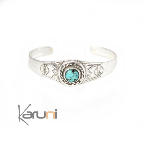 Nigerian Turquoise Silver Exclusive Cuff 09