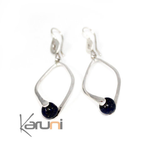 Ethnic Drop Earrings Sterling Silver Jewelry Lapis Azuli