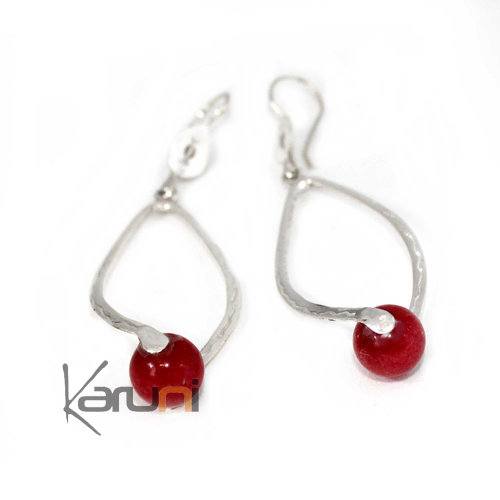 Ethnic Drop Earrings Sterling Silver Jewelry Red Agath