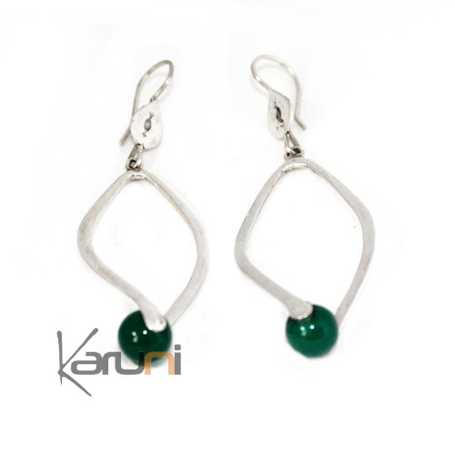 Ethnic Drop Earrings Sterling Silver Green Agath Jewelry