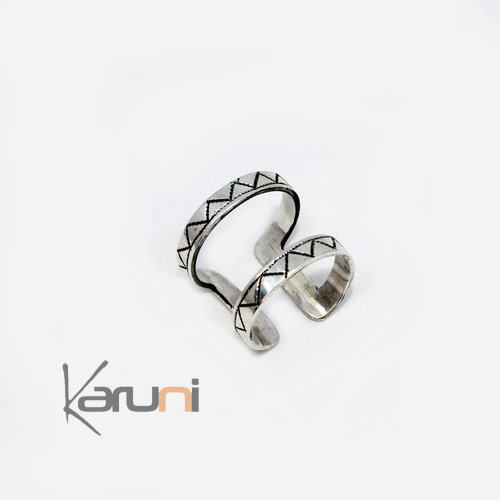 Silver adujuatable double Ring