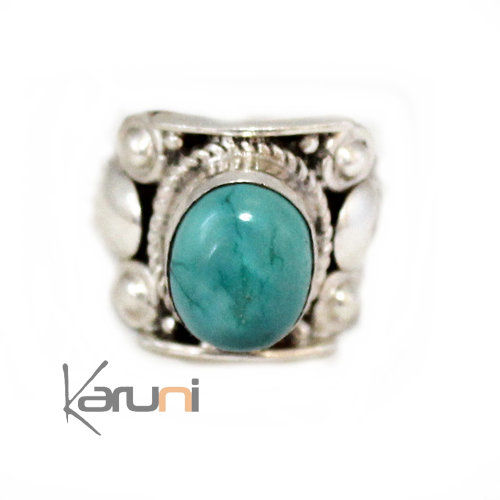 Nepalese Turquoise Silver Ring 1001