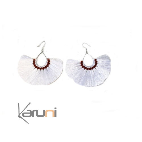 White Brown Fancy Earrings 4012