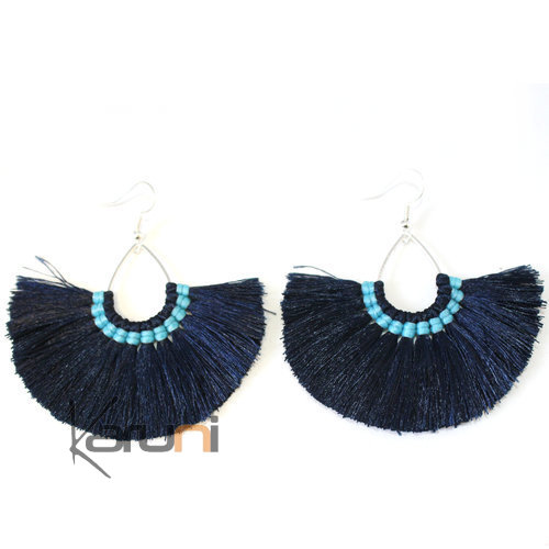 blue Black Yarns Fancy Thai Earrings 4016
