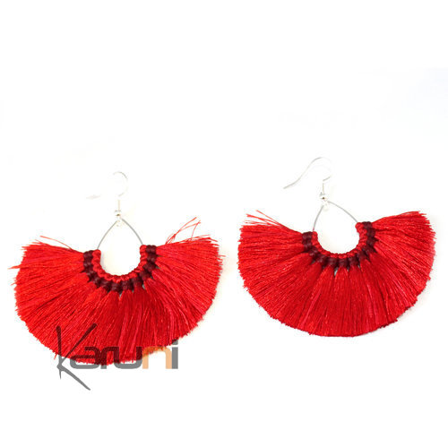 Red Yarns Fancy Thai Earrings 4017