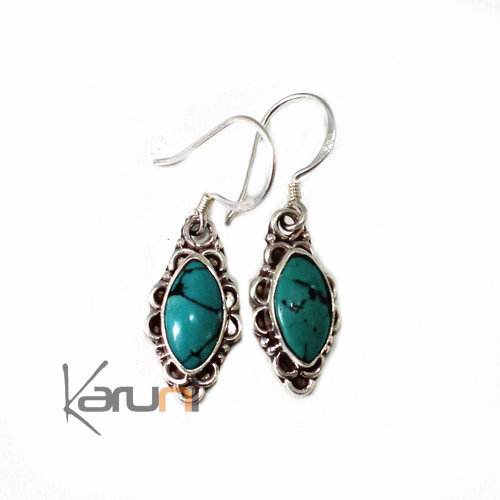 Nepalese Fancy Turquoise silver Earrings 30103