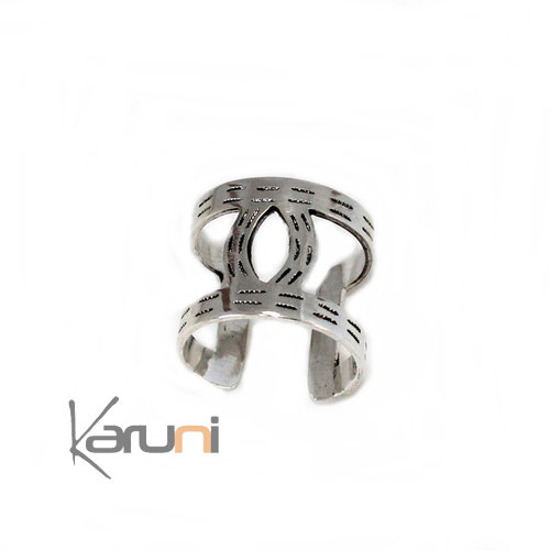 Ebony Silver Adjustable Ring 1051