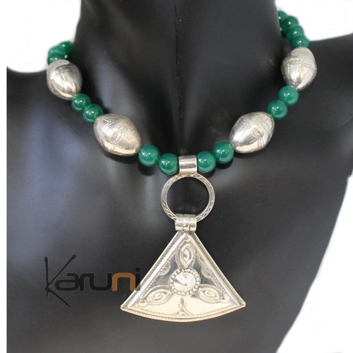 Tuareg necklace Silver Green Agate
