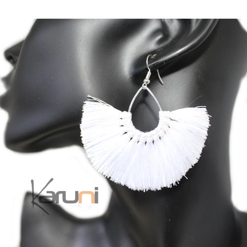 White Fancy Thai Earrings 4022