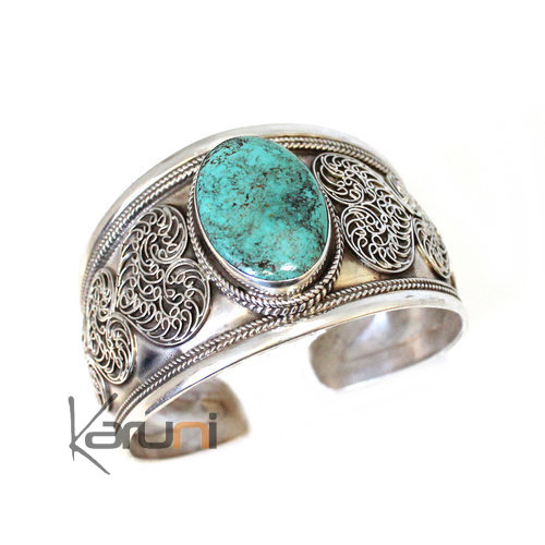 Nepalese Large Cuff filigree Silver turquoise 3032