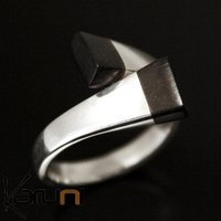 Ethnic Jewelry Ring Sterling Silver Ebony Nail Crossed Adjustable Tuareg Tribe Design KARUNI