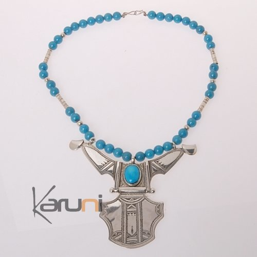 Necklace Sterling Silver  Big Houmeini Turquoise Tuareg Tribe Design 2