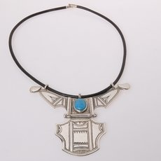 Ethnic Necklace Sterling Silver Jewelry Big Houmeini Turquoise Tuareg Tribe Design 3
