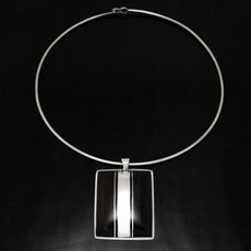 Ethnic Jewelry Pendant Sterling Silver Ebony Rectangles Tuareg Trib Design