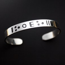 Ethnic Bracelet Sterling Silver Jewelry Flat Tifinagh Men/Women Tuareg Tribe Design 01