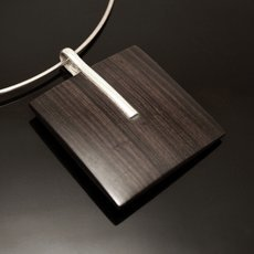 Ethnic Jewelry Pendant Sterling Silver Ebony Square Smooth Tuareg Tribe Design KARUNI